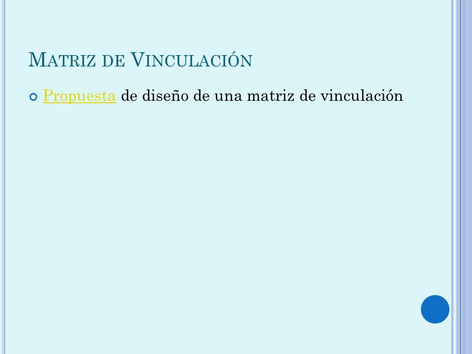 M ATRIZ DE V INCULACIÓN Propuesta de diseño de una matriz de vinculación Propuesta