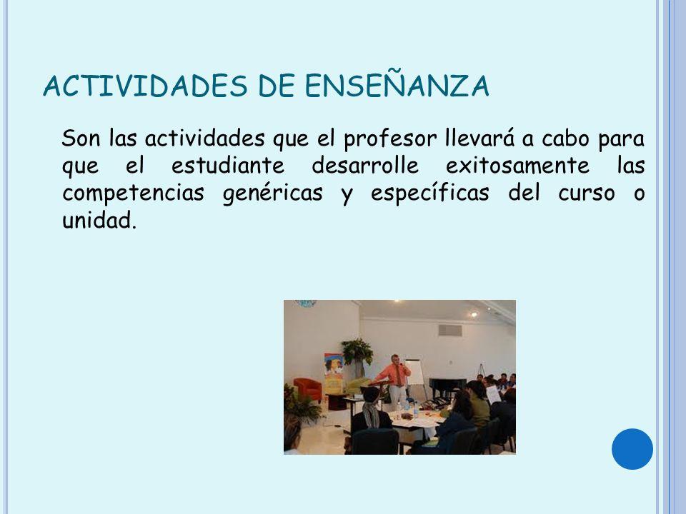 ACTIVIDADES DE ENSEÑANZA Son las actividades que el profesor llevará a cabo para que el estudiante desarrolle exitosamente las competencias genéricas