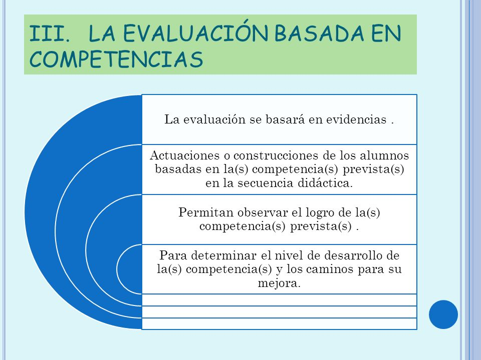 III. LA EVALUACIÓN BASADA EN COMPETENCIAS La evaluación se basará en evidencias. Actuaciones o construcciones de los alumnos basadas en la(s) competen