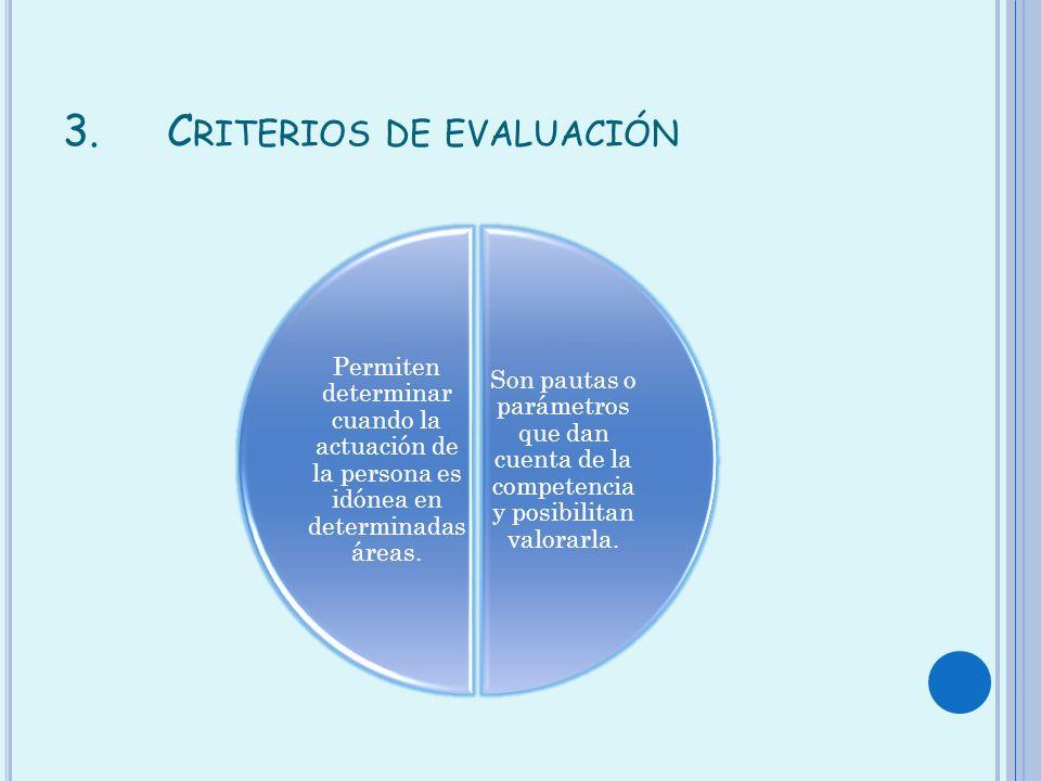 3.C RITERIOS DE EVALUACIÓN Son pautas o parámetros que dan cuenta de la competencia y posibilitan valorarla. Permiten determinar cuando la actuación d
