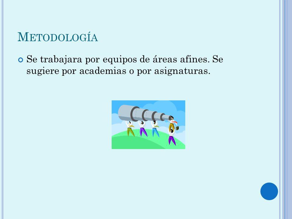 M ETODOLOGÍA Se trabajara por equipos de áreas afines. Se sugiere por academias o por asignaturas.