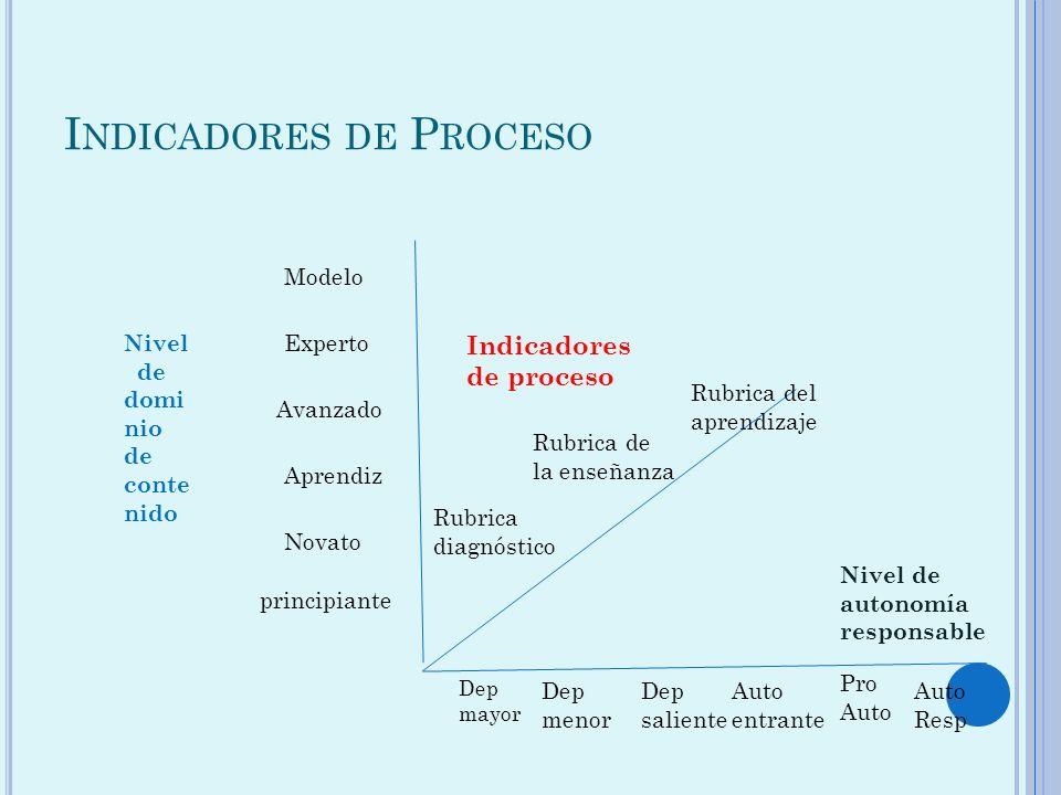 I NDICADORES DE P ROCESO Nivel de domi nio de conte nido Indicadores de proceso Nivel de autonomía responsable principiante Rubrica diagnóstico Rubric