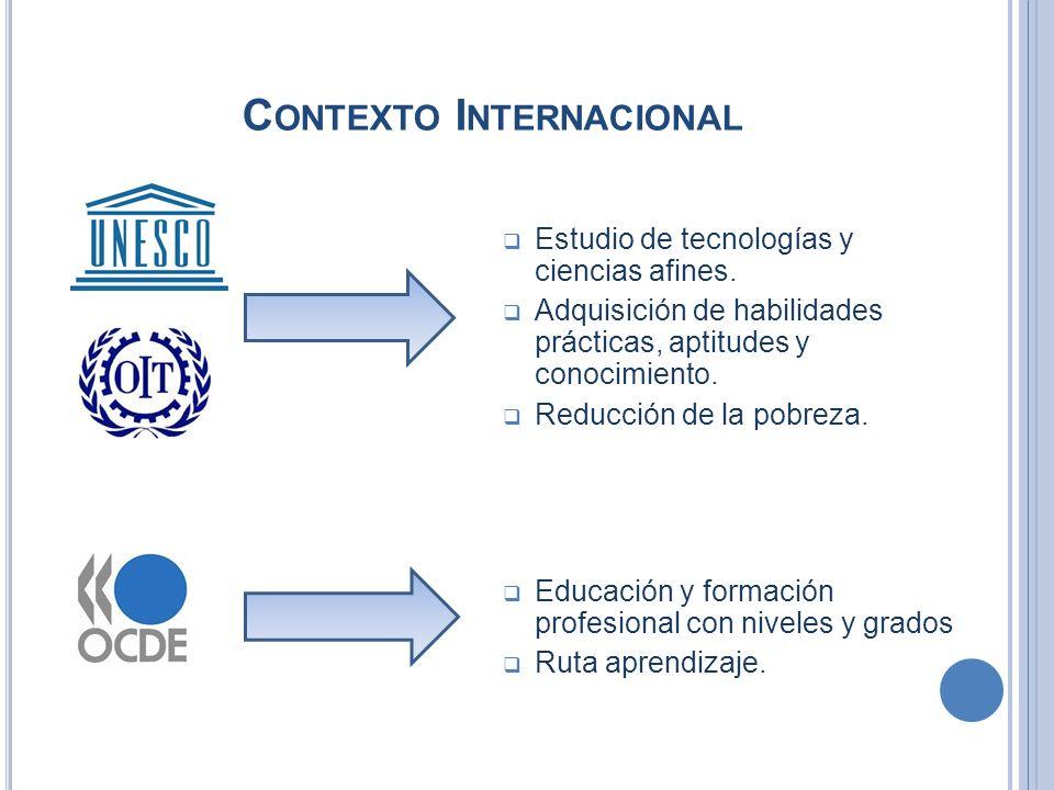 C ONTEXTO I NTERNACIONAL UNESCO OCDE Estudio de tecnologías y ciencias afines. Adquisición de habilidades prácticas, aptitudes y conocimiento. Reducci