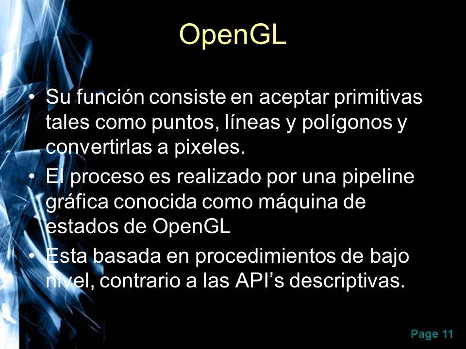 Page 11 OpenGL Su función consiste en aceptar primitivas tales como puntos, líneas y polígonos y convertirlas a pixeles. El proceso es realizado por u