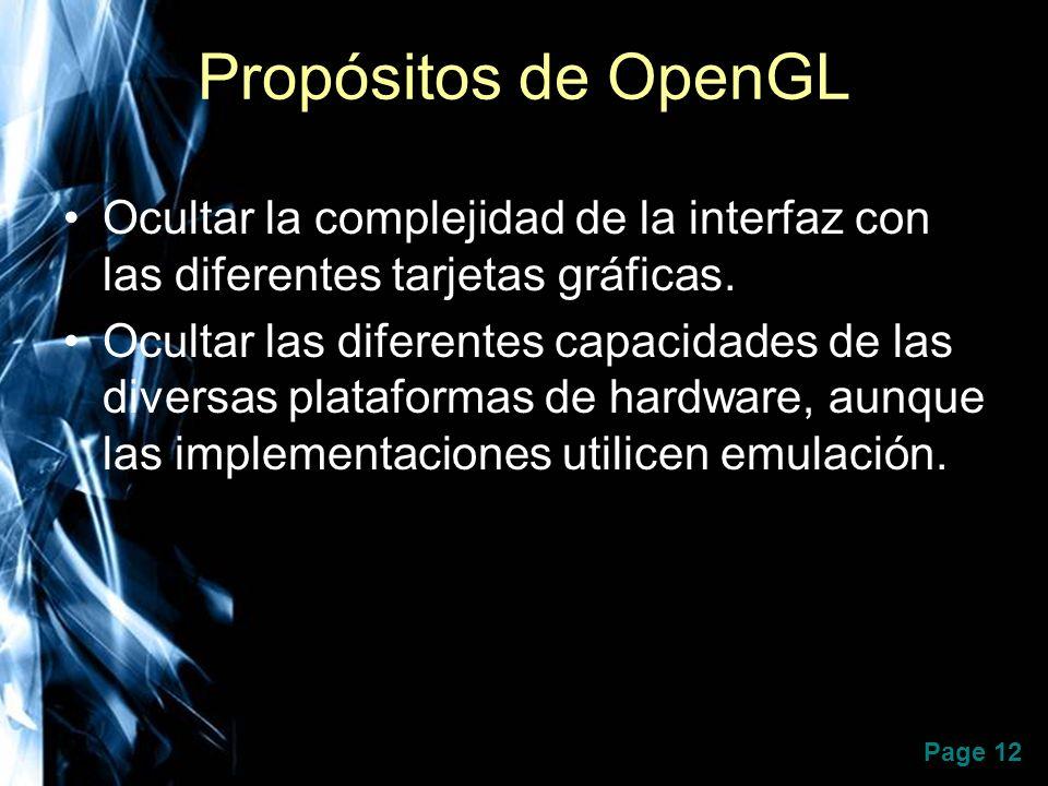 Page 12 Propósitos de OpenGL Ocultar la complejidad de la interfaz con las diferentes tarjetas gráficas. Ocultar las diferentes capacidades de las div