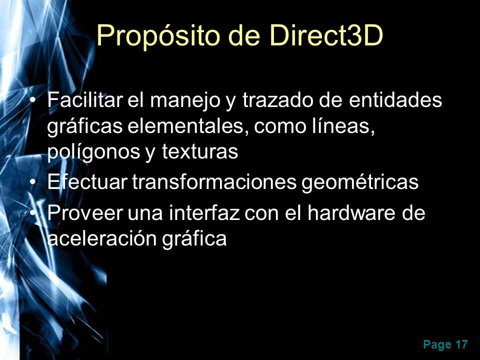 Page 17 Propósito de Direct3D Facilitar el manejo y trazado de entidades gráficas elementales, como líneas, polígonos y texturas Efectuar transformaci