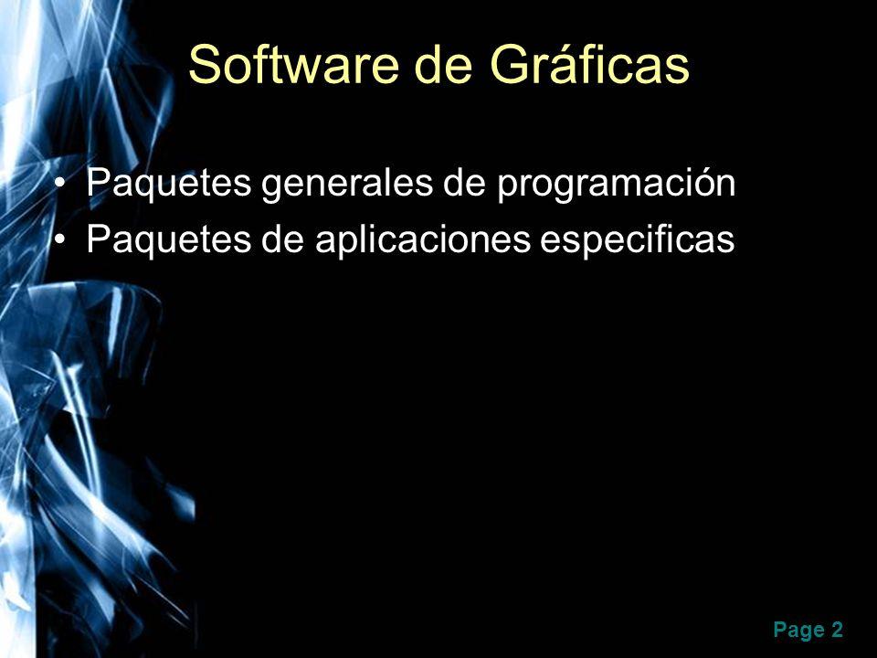 Page 2 Software de Gráficas Paquetes generales de programación Paquetes de aplicaciones especificas