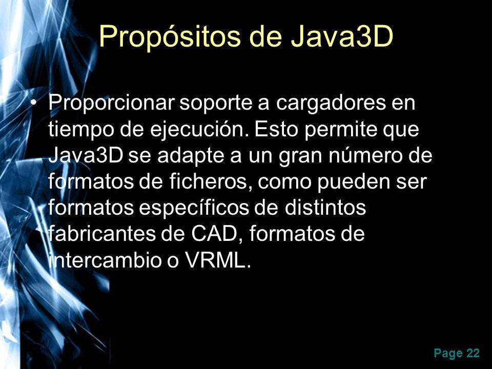 Page 22 Propósitos de Java3D Proporcionar soporte a cargadores en tiempo de ejecución. Esto permite que Java3D se adapte a un gran número de formatos