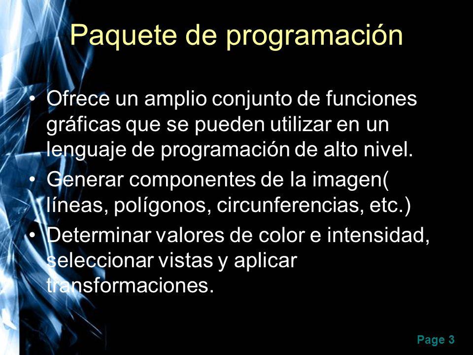 Page 3 Paquete de programación Ofrece un amplio conjunto de funciones gráficas que se pueden utilizar en un lenguaje de programación de alto nivel. Ge