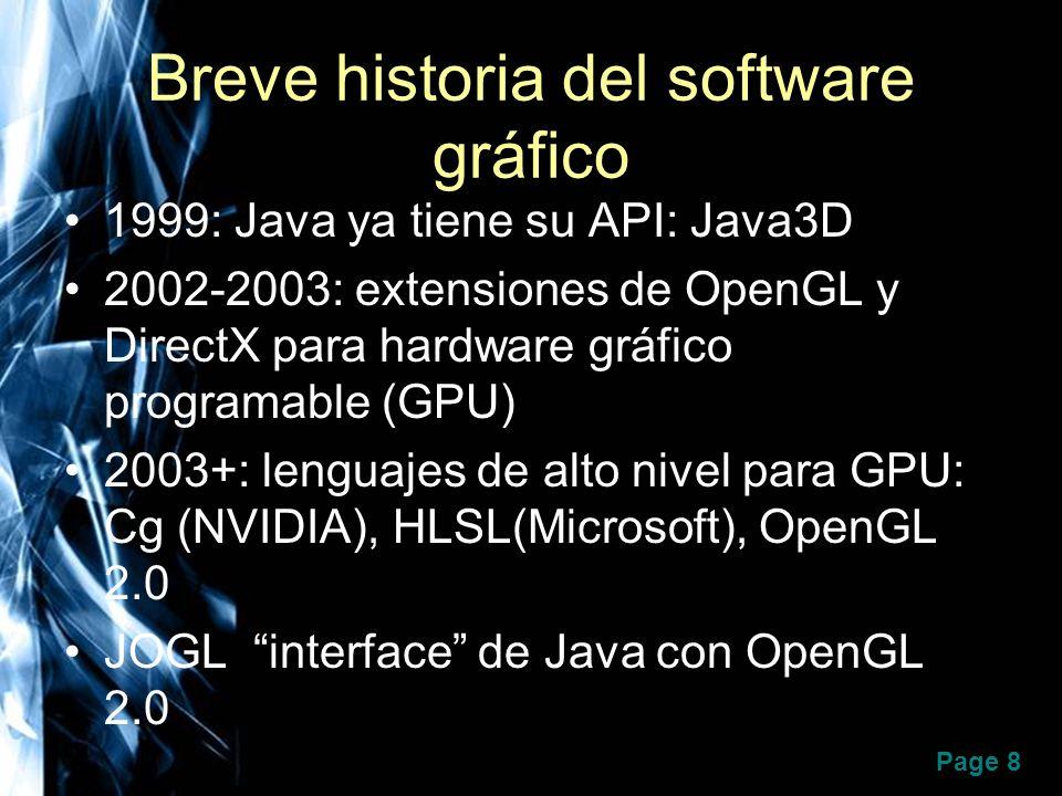 Page 8 Breve historia del software gráfico 1999: Java ya tiene su API: Java3D 2002-2003: extensiones de OpenGL y DirectX para hardware gráfico program