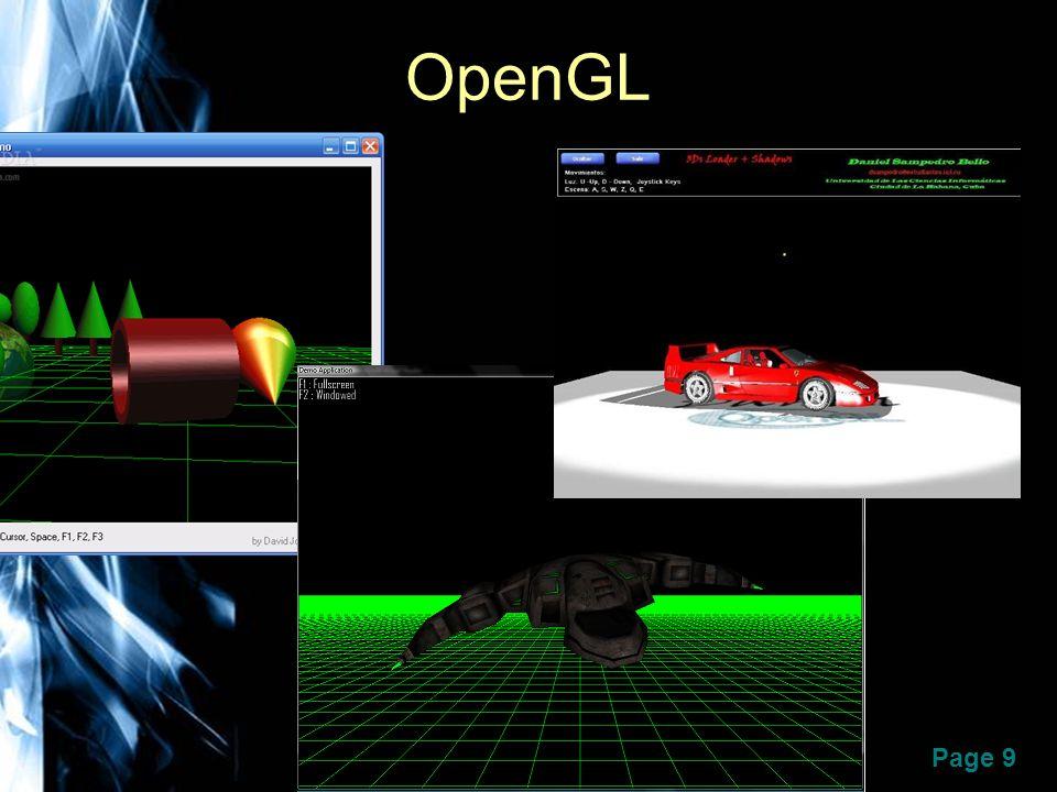 Page 10 OpenGL Desarrollada originalmente por Silicon Graphics Inc.
