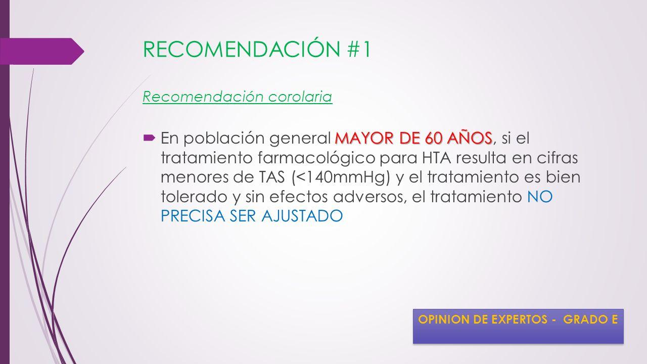RECOMENDACIÓN #1 Recomendación corolaria MAYOR DE 60 AÑOS En población general MAYOR DE 60 AÑOS, si el tratamiento farmacológico para HTA resulta en c