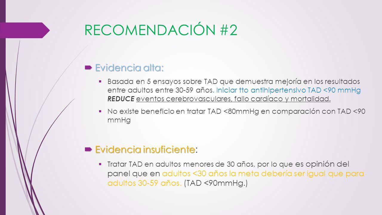 RECOMENDACIÓN #2 Evidencia alta: Evidencia alta: Basada en 5 ensayos sobre TAD que demuestra mejoría en los resultados entre adultos entre 30-59 años.