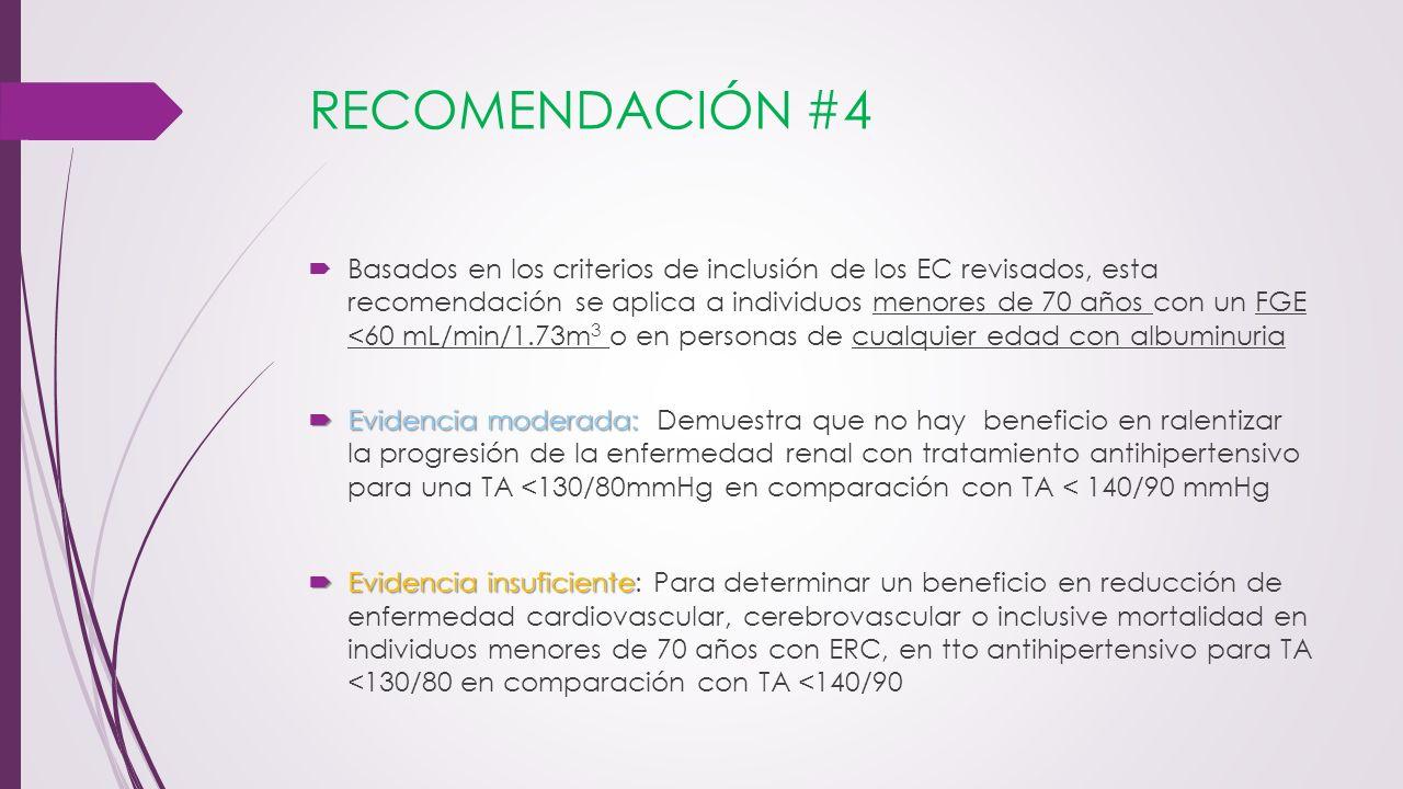 RECOMENDACIÓN #4 Basados en los criterios de inclusión de los EC revisados, esta recomendación se aplica a individuos menores de 70 años con un FGE <6