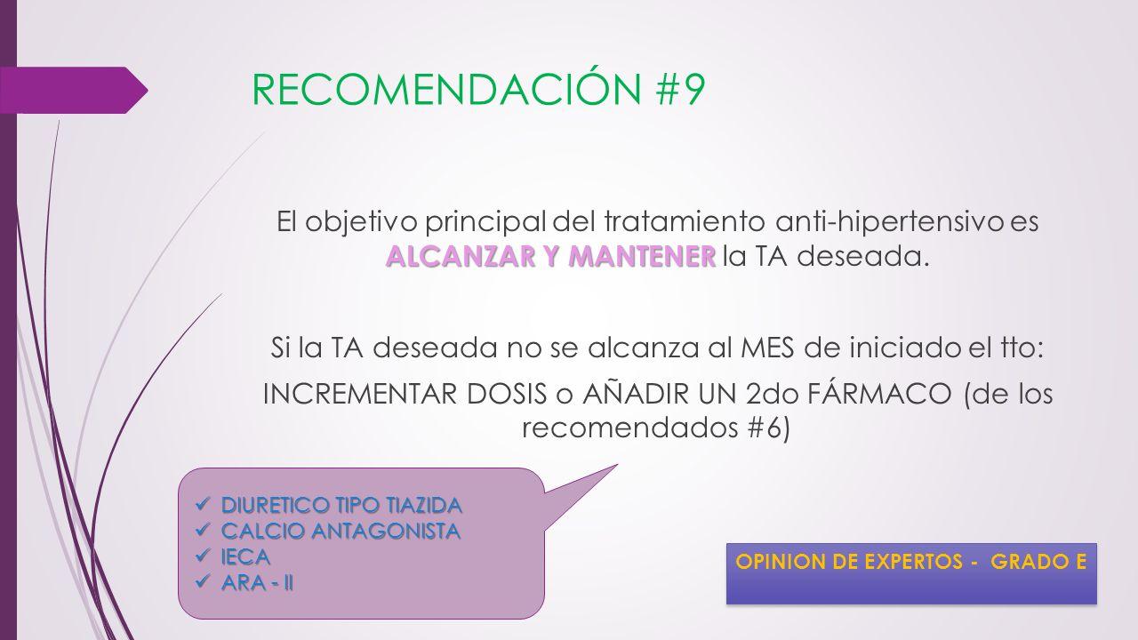 RECOMENDACIÓN #9 ALCANZAR Y MANTENER El objetivo principal del tratamiento anti-hipertensivo es ALCANZAR Y MANTENER la TA deseada. Si la TA deseada no