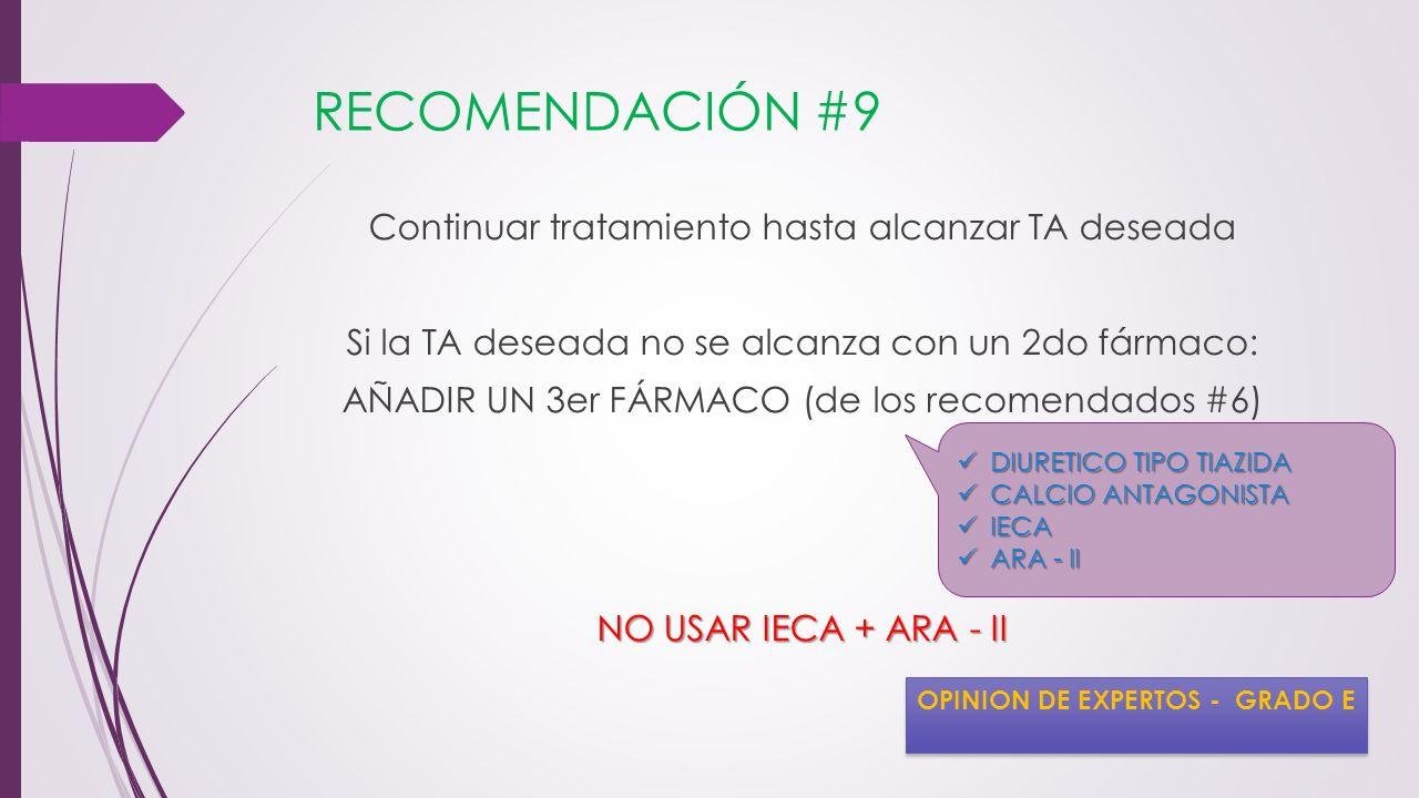 RECOMENDACIÓN #9 Continuar tratamiento hasta alcanzar TA deseada Si la TA deseada no se alcanza con un 2do fármaco: AÑADIR UN 3er FÁRMACO (de los reco