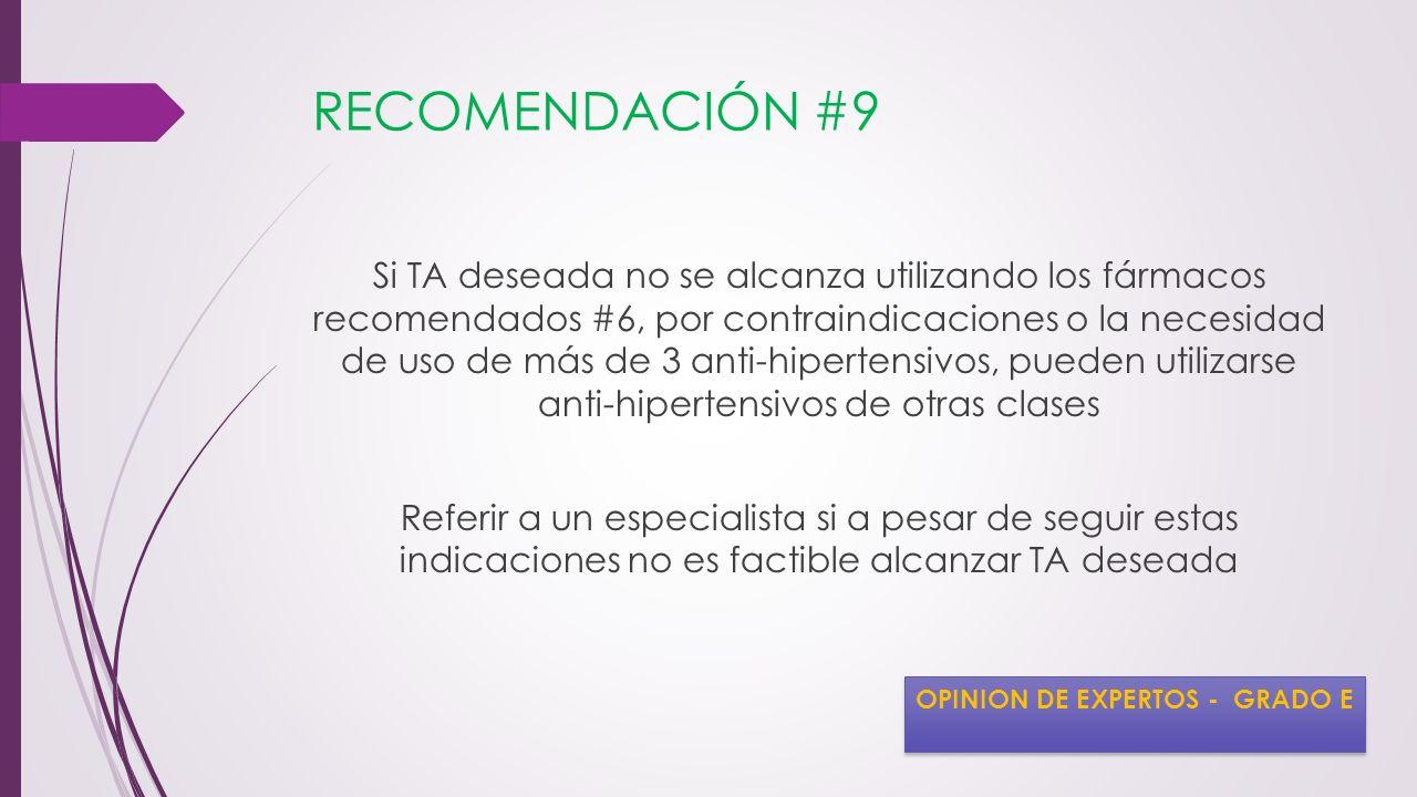 RECOMENDACIÓN #9 Si TA deseada no se alcanza utilizando los fármacos recomendados #6, por contraindicaciones o la necesidad de uso de más de 3 anti-hi