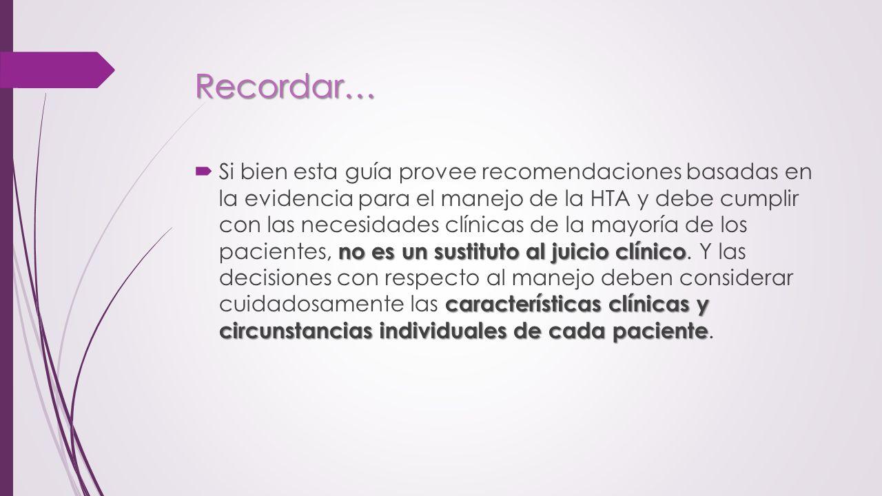 Recordar… no es un sustituto al juicio clínico características clínicas y circunstancias individuales de cada paciente Si bien esta guía provee recome
