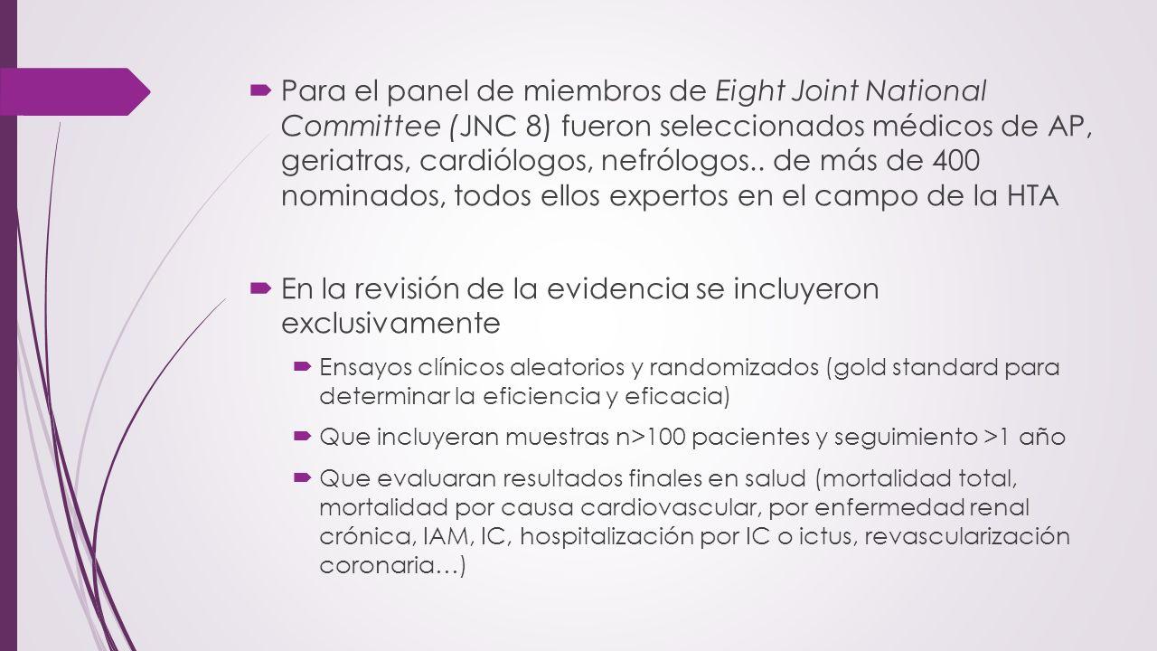 Para el panel de miembros de Eight Joint National Committee (JNC 8) fueron seleccionados médicos de AP, geriatras, cardiólogos, nefrólogos.. de más de
