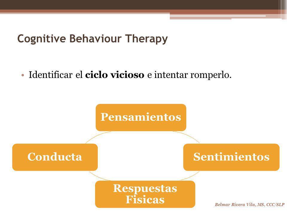 Cognitive Behaviour Therapy Identificar el ciclo vicioso e intentar romperlo.
