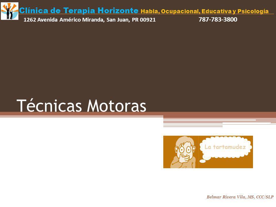 Técnicas Motoras Belmar Rivera Vila, MS, CCC/SLP Clínica de Terapia Horizonte Habla, Ocupacional, Educativa y Psicología 1262 Avenida Américo Miranda, San Juan, PR 00921 787-783-3800