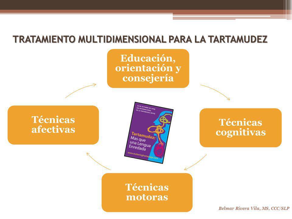 TRATAMIENTO MULTIDIMENSIONAL PARA LA TARTAMUDEZ Belmar Rivera Vila, MS, CCC/SLP Educación, orientación y consejería Técnicas cognitivas Técnicas motoras Técnicas afectivas