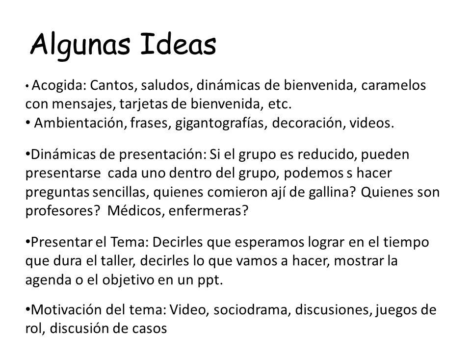 Algunas Ideas Acogida: Cantos, saludos, dinámicas de bienvenida, caramelos con mensajes, tarjetas de bienvenida, etc. Ambientación, frases, gigantogra
