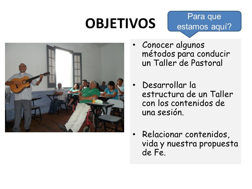 OBJETIVOS Conocer algunos métodos para conducir un Taller de Pastoral Desarrollar la estructura de un Taller con los contenidos de una sesión. Relacio