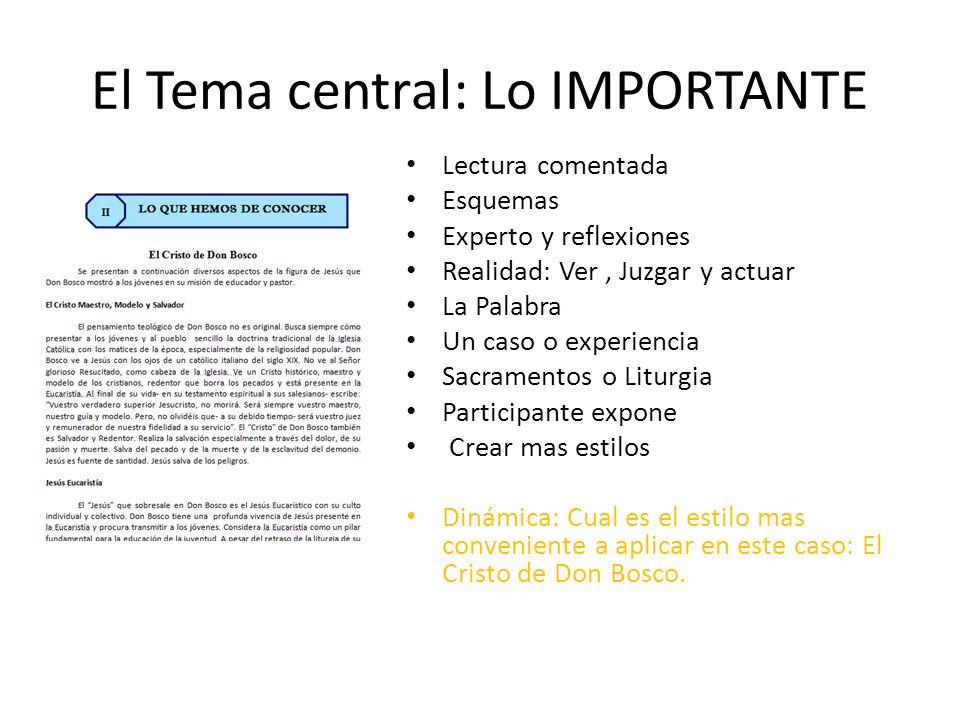 El Tema central: Lo IMPORTANTE Lectura comentada Esquemas Experto y reflexiones Realidad: Ver, Juzgar y actuar La Palabra Un caso o experiencia Sacram