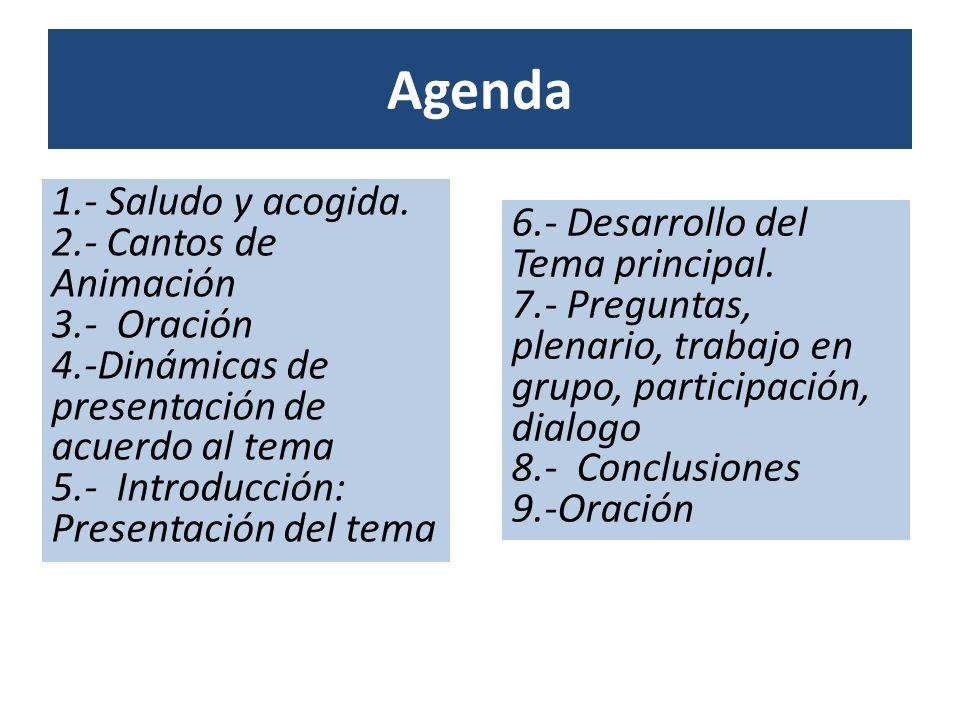 Agenda 1.- Saludo y acogida. 2.- Cantos de Animación 3.- Oración 4.-Dinámicas de presentación de acuerdo al tema 5.- Introducción: Presentación del te