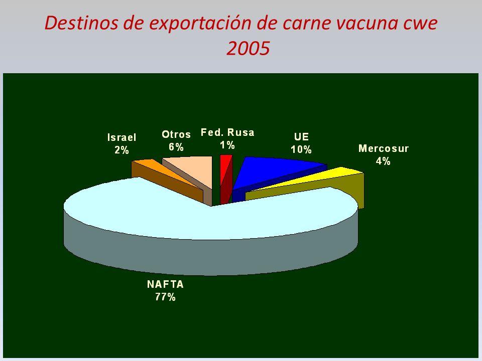 Destinos de exportación de carne vacuna cwe 2005