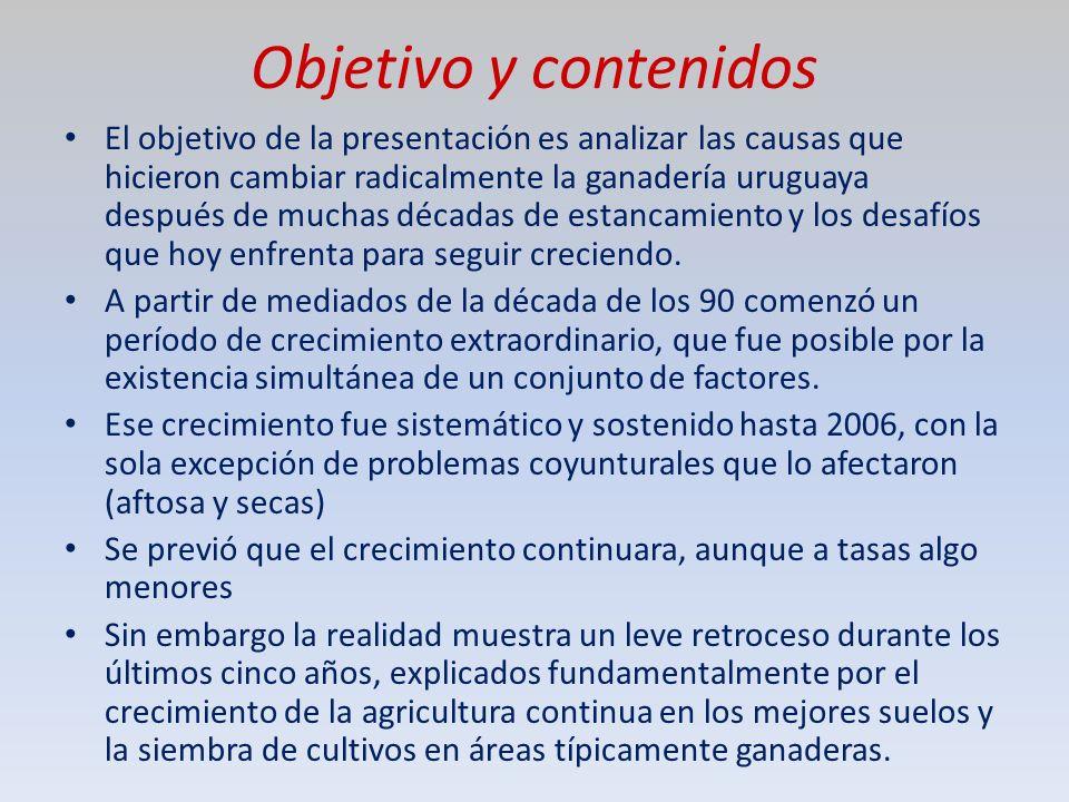 Objetivo y contenidos El objetivo de la presentación es analizar las causas que hicieron cambiar radicalmente la ganadería uruguaya después de muchas décadas de estancamiento y los desafíos que hoy enfrenta para seguir creciendo.