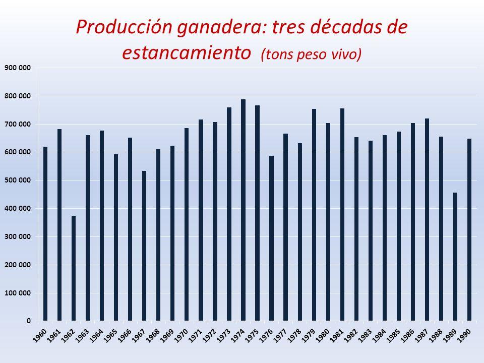 Producción ganadera: tres décadas de estancamiento (tons peso vivo)