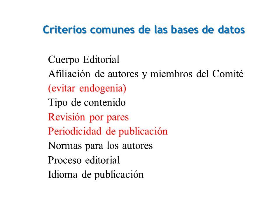 Criterios comunes de las bases de datos Cuerpo Editorial Afiliación de autores y miembros del Comité (evitar endogenia) Tipo de contenido Revisión por