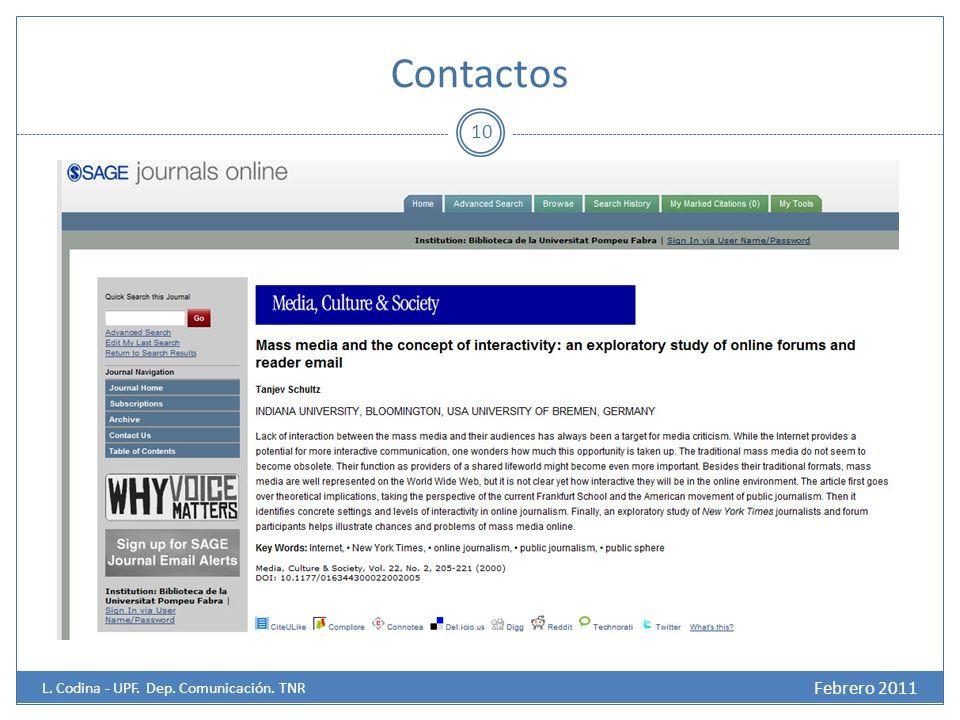 Contactos 10 Febrero 2011 L. Codina - UPF. Dep. Comunicación. TNR