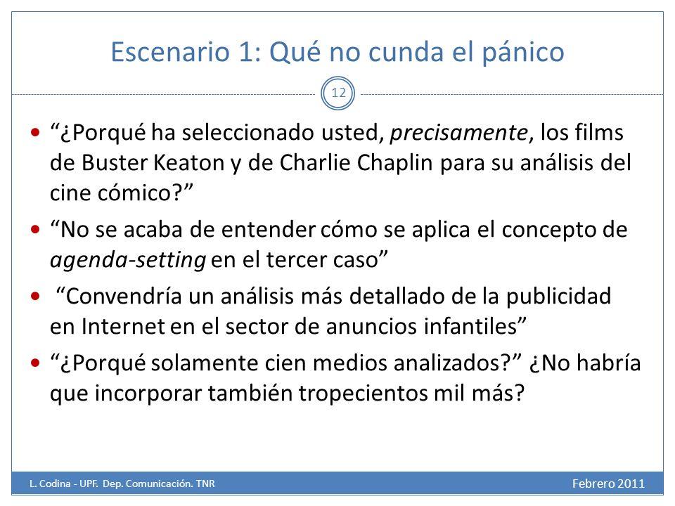 Escenario 1: Qué no cunda el pánico ¿Porqué ha seleccionado usted, precisamente, los films de Buster Keaton y de Charlie Chaplin para su análisis del cine cómico.