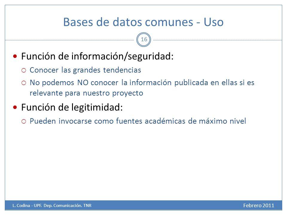Bases de datos comunes - Uso Febrero 2011 L.Codina - UPF.