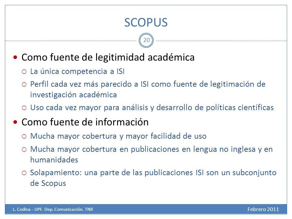 SCOPUS Febrero 2011 L.Codina - UPF. Dep. Comunicación.