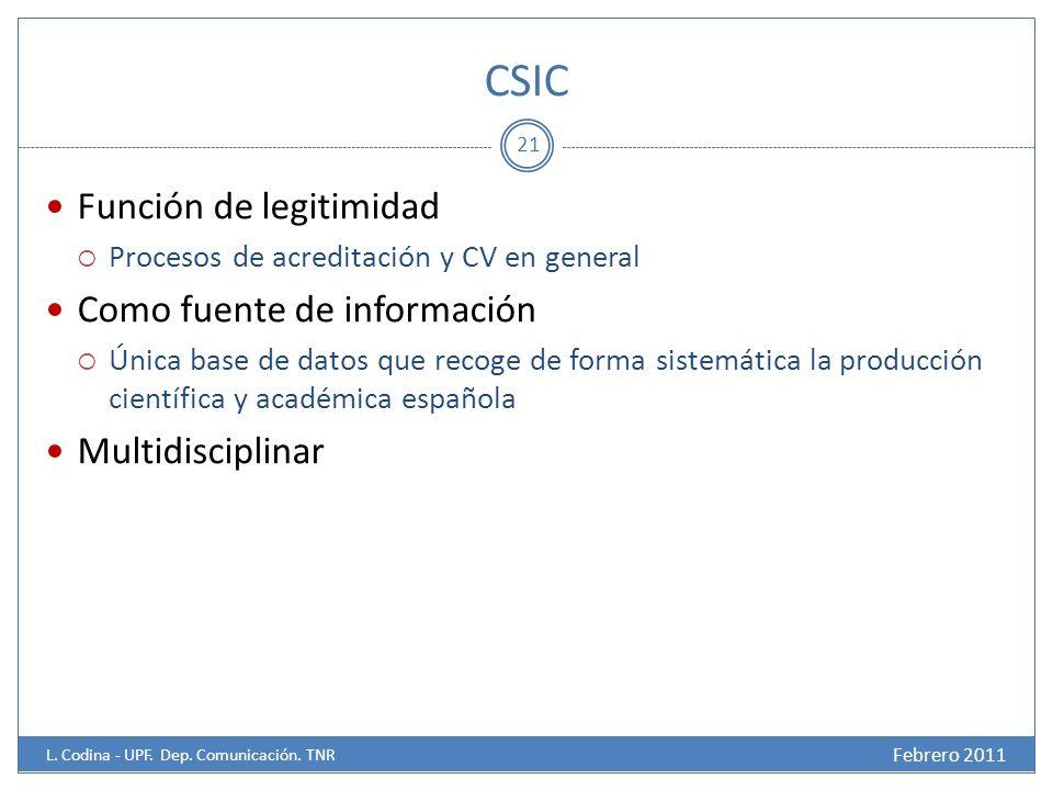 CSIC Función de legitimidad Procesos de acreditación y CV en general Como fuente de información Única base de datos que recoge de forma sistemática la producción científica y académica española Multidisciplinar 21 Febrero 2011 L.