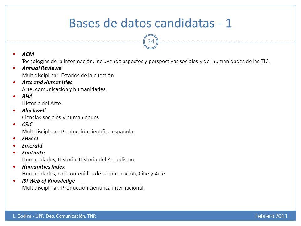 Bases de datos candidatas - 1 ACM Tecnologías de la información, incluyendo aspectos y perspectivas sociales y de humanidades de las TIC.