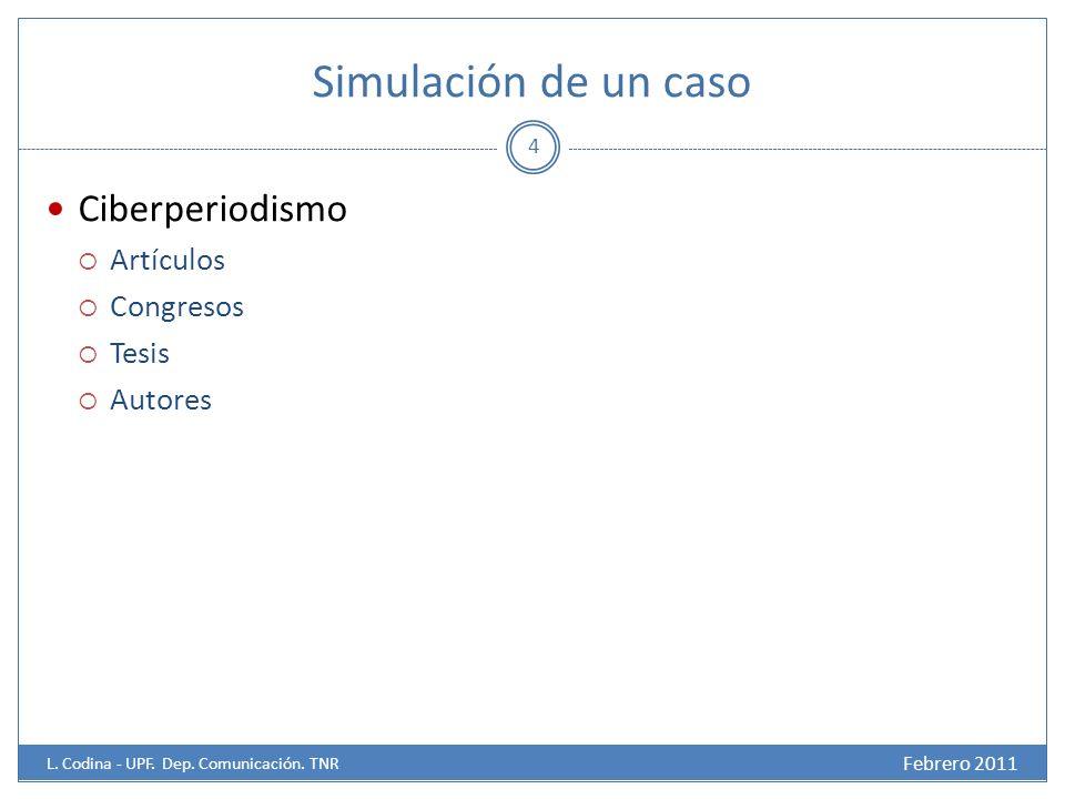 Simulación de un caso Ciberperiodismo Artículos Congresos Tesis Autores 4 Febrero 2011 L.