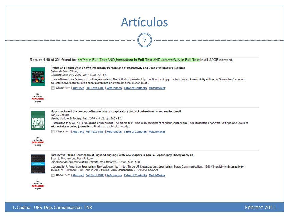 Artículos 5 Febrero 2011 L. Codina - UPF. Dep. Comunicación. TNR
