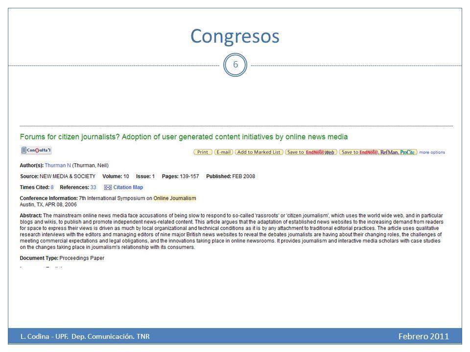 Congresos 6 Febrero 2011 L. Codina - UPF. Dep. Comunicación. TNR