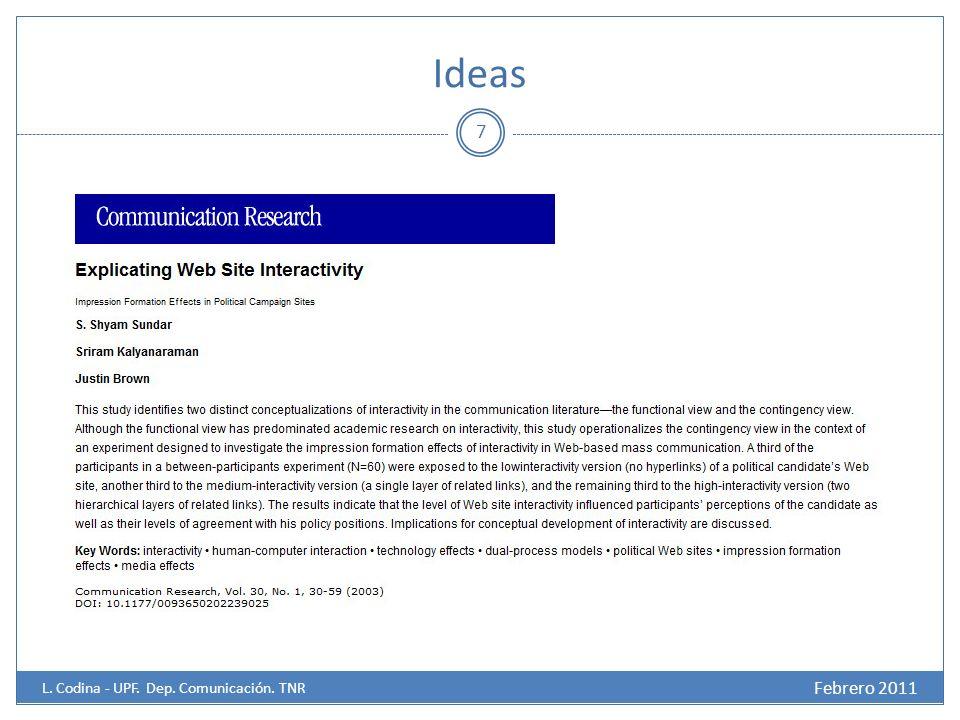 Ideas 7 Febrero 2011 L. Codina - UPF. Dep. Comunicación. TNR