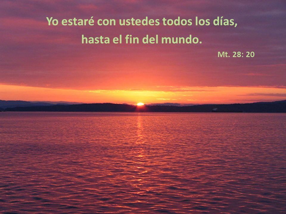Yo estaré con ustedes todos los días, hasta el fin del mundo. Mt. 28: 20