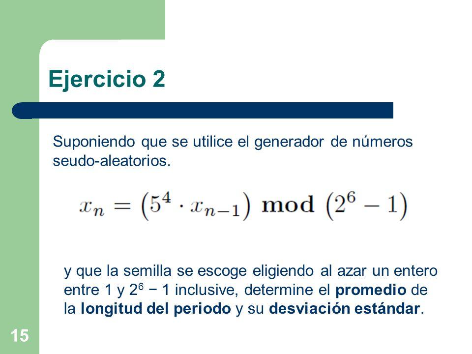 Ejercicio 2 15 Suponiendo que se utilice el generador de números seudo-aleatorios. y que la semilla se escoge eligiendo al azar un entero entre 1 y 2