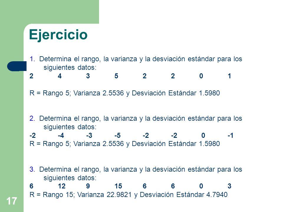 17 1. Determina el rango, la varianza y la desviación estándar para los siguientes datos: 24352201 R = Rango 5; Varianza 2.5536 y Desviación Estándar