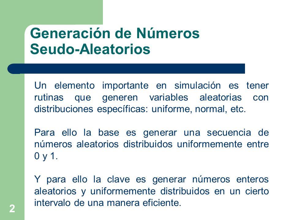 2 Generación de Números Seudo-Aleatorios Un elemento importante en simulación es tener rutinas que generen variables aleatorias con distribuciones esp