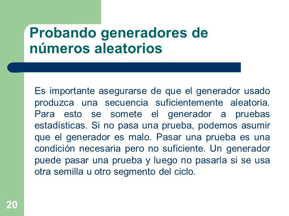 Probando generadores de números aleatorios 20 Es importante asegurarse de que el generador usado produzca una secuencia suficientemente aleatoria. Par