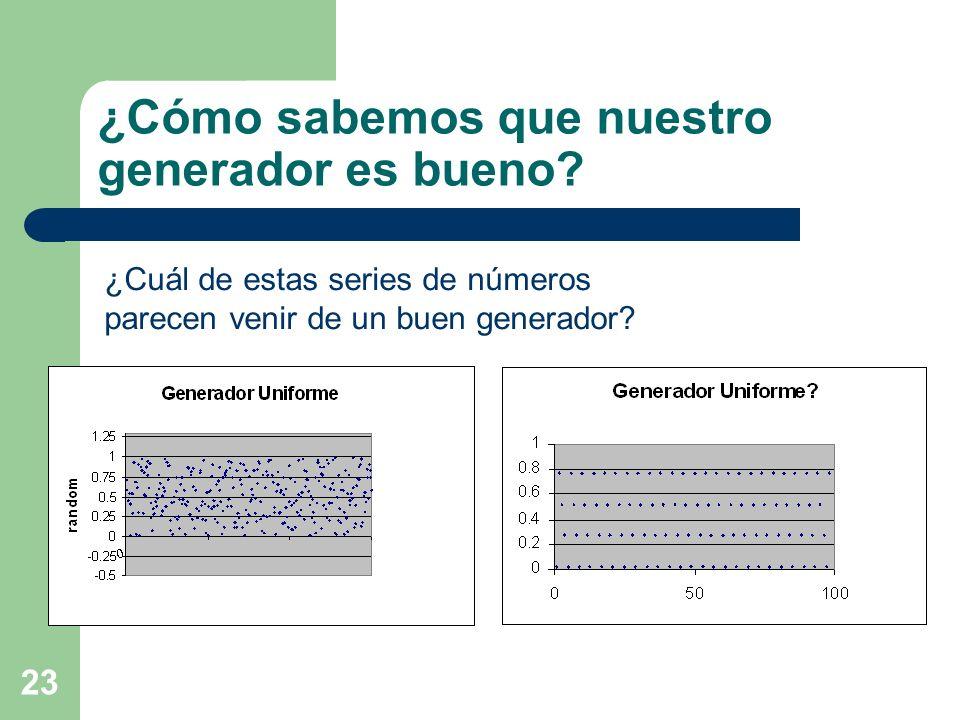 23 ¿Cómo sabemos que nuestro generador es bueno? ¿Cuál de estas series de números parecen venir de un buen generador?